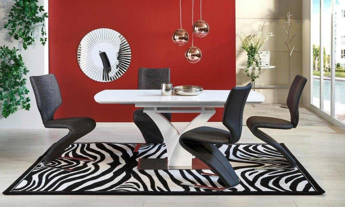 New PALERMO dining table 9 9 cm MDF lacquered stainless steel Table and  chairs set Top quality